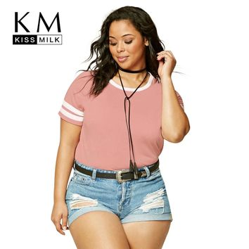 Kissmilk Plus Size New Fashion Women Clothing Casual O-Neck Solid Tops Preppy Style Streetwear Big Size T-shirt 3XL 4XL 5XL 6XL