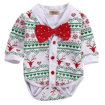 SpringXmas Autumn Newborn Baby Girl Boy Reindeer Snowflake Coat Romper Christmas 2pcs Outfits Set