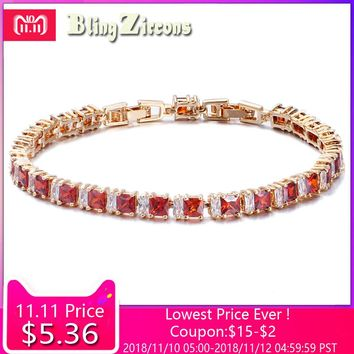 BlingZircons Exquisite Gold Color Jewelry Square CZ Crystal And Cubic Zircon Stone Setting Indian Red Bracelet For Women B039