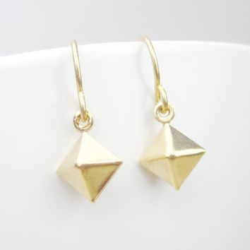 Little Geometric Drops - 14k Gold Filled Ear Hooks