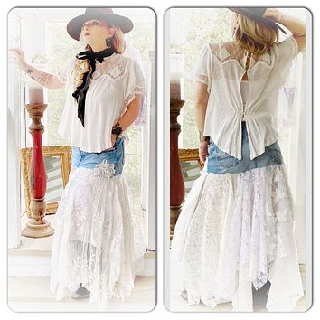 denim n lace Stevie Nicks Maxi skirt, Bohemian hippie tattered jean maxi skirt
