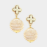 Gold Quatrefoil Clover Druzy Stone Thread Ball Drop Earrings