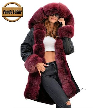 Fandy Lokar Real Fur Coat Detached Lining Natural Rex Rabbit Fur Parka Real Fox Fur Black Jacket winter coat Long Fur Coat Women