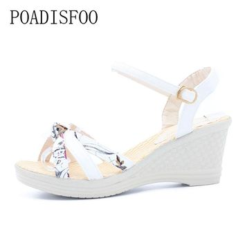 [Classic]2017 Women Platform Sandals Wedges  Metal Button Sandals  Buckle Strap Weave Thick Bottom Shoes Plus Size 35~41 .lx-043