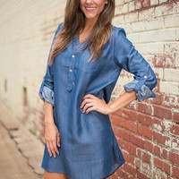 Denim You Know Dress, Blue