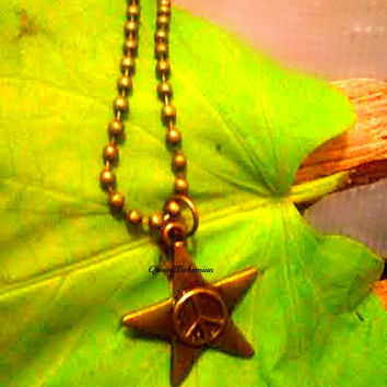 Star Peace Sign Necklace,Country Girl,Country Wear.Cowgirl Necklace,Outlaw Jewelry,Country Western,Country Music,Direct Checkout,Ready 2Ship