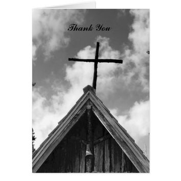 Thank You For Sympathy Note Card, Old Church B&W Card
