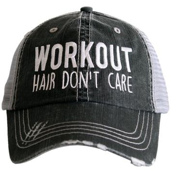 Workout Hair Don't Care Distressed Hat