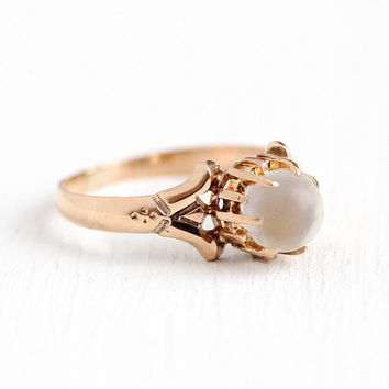 Antique Moonstone Ring - Edwardian 10k Rosy Yellow Gold Solitaire White Gemstone - Size 4 3/4 Vintage 1900s Orb Fine Belcher Jewelry