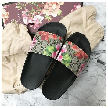 shosouvenir Gucci Casual Fashion Women Floral Print Sandal Slipper Shoes-3