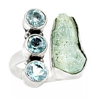 Aquamarine Rough & Blue Topaz Adjustable Sterling Silver Ring