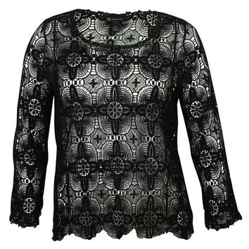 INC Women's Lace Crochet Sweater
