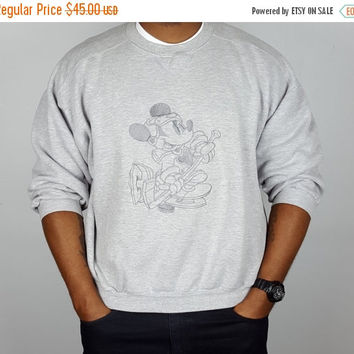 SALE Vintage 80s 90s Mickey Mouse Disney Hockey Sweatshirt / Gray Mickey Crewneck Sweatshirt / Vintage Disney Athletics Shirt / Disney Souve