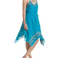 Teal Tribal-Embroidered Handkerchief Dress by Charlotte Russe
