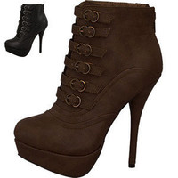Brown platform high stiletto heels ankle combat work boots booties shoes 8.5