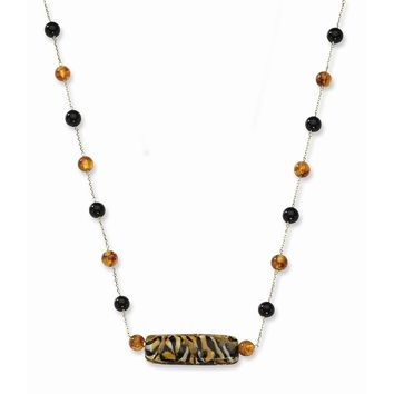 14k Murano Glass Bead, Amber and Onyx Necklace