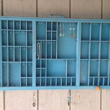 Turquoise Letterpress Jewelry Holder