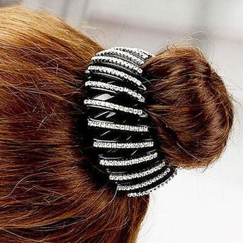 ESBG8W Fashion Bird Nest/ Expanding Tail Hair Bun Holders Clips Grips Clamps Claw with Rhinestones Hair Accessories C2