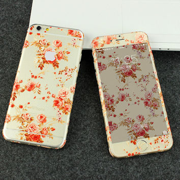 Peony Flowers Pattern Decal Wrap Skin Set iPhone 6s 6 / iPhone 6s 6 Plus