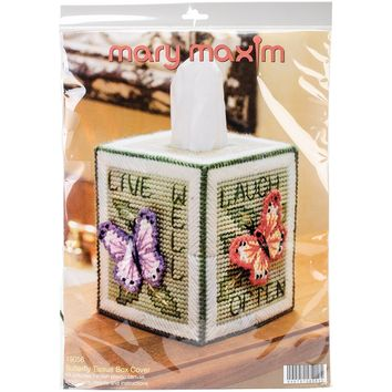 Butterfly (7 Count) Mary Maxim Plastic Canvas Tissue Box Kit 5""