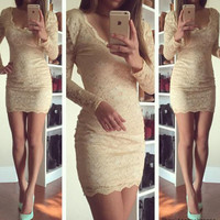 Nude Low-Neck Lace Dress