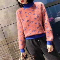 """Louis Vuitton"" Women Casual Fashion Multicolor Knit Letter Logo Long Sleeve Turtleneck Sweater Tops"