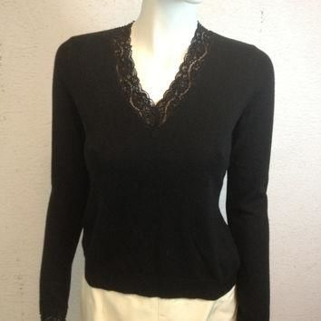 Ralph Lauren Cashmere & Silk Beaded Sweater Ladies Size Small Excellent Vintage Condit