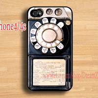 Vintage Payphone Iphone 4 case, Iphone 4S case, Plastic hard case, Waterproof, Colourful