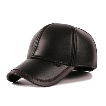 Leather Baseball Cap Men's Winter Hats with Ears 6 Panel Bone casquette polo Z-1693