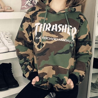 Street camouflage hooded fleece thrasher who men and women Camouflage(white letters)