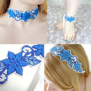 Blue Flower Accessory / Choker / Headband / Anklet