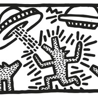 Keith Haring - Untitled (Dogs with UFOs)