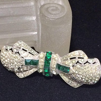 Art Deco Rhinestone Brooch Pin Emerald Green and Crystal Stylized Bow Silver Tone Pot Metal Vintage Bridal Wedding Jewelry  518