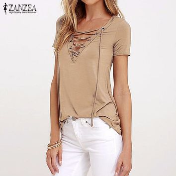 ZANZEA Women 2017 Summer Sexy V Neck Blouses Short Sleeve Casual Hollow Out Lace Up Solid Shirts Blusas Tee Tops Oversized