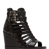 Black Faux Leather Lug Sole Wedges