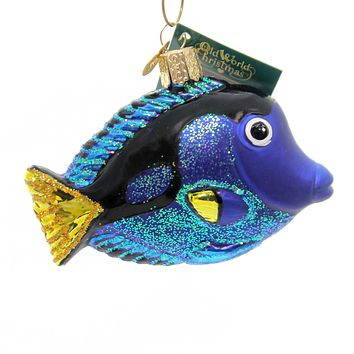 Old World Christmas PACIFIC BLUE TANG Glass Ornament Marine Aquarium 12504