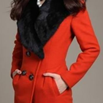 Carrot Orange Winter Wool Long Sleeve Black Faux Fur Collar Double Button Overcoat Jacket Coat