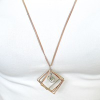 Long Two-Tone Open Squares & Stone Necklace