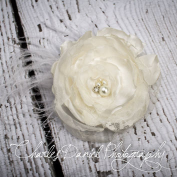 Ophelia Handsinged Satin and lace Hair Flower