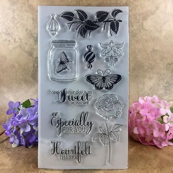 Clear Stamp Scrapbook DIY photo cards account rubber stamp clear stamp transparent stamp Specially for you Sweet Thanks 20*11cm