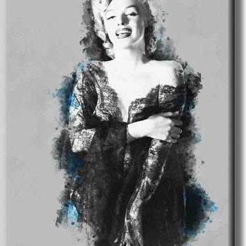 Vintage Marilyn Monroe Art Picture on Stretched Canvas, Wall Art Décor, Ready to Hang
