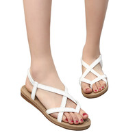 2017 Summer Sandals Women Shoes Woman Sandals Female Flat With Cross Strap Students Casual Shoes Solid White Black Beach Sandals