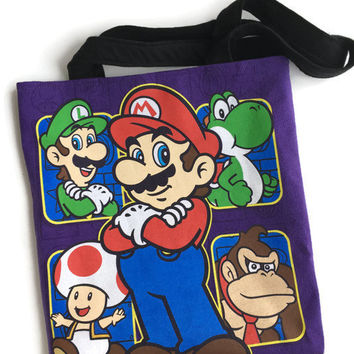 Mario Brothers Tote Upcycled T-shirt Bag Super Mario Bag