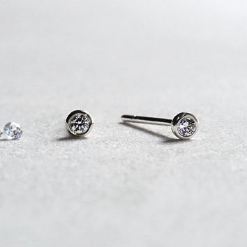 Circle Diamond Stud Earrings - 14k White Gold Bezel Set Earrings - 2mm Brilliant Diamond - Gift for Her - Simple Everyday Jewelry LITTIONARY