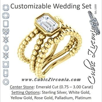 CZ Wedding Set, featuring The Maria Leeslii engagement ring (Customizable Bezel-set Emerald Cut Solitaire with Wide Beaded-Metal Split-Band)