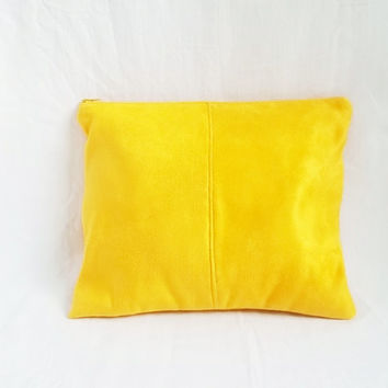 SALE - Mustard Yellow Clutch Purse - Handmade Vegan Suede Pouch - Bridesmaid Clutches