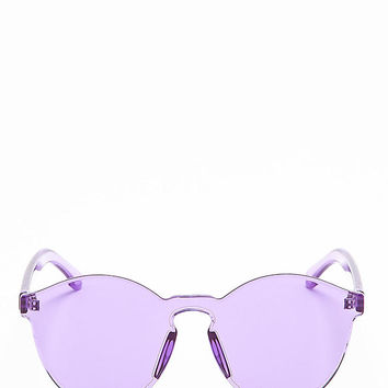 Zero UV Transparent Rimless Block Cut Sunglasses in Purple