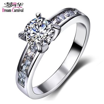 DreamCarnival1989 Solitaire Ring for Women Engagement CZ Wedding Fashion Jewelry Rhodium Color Bagues Femme Ringen Drop Shipping