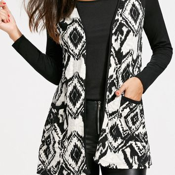 Open Front Tribal Print Cardigan - White And Black - 2xl