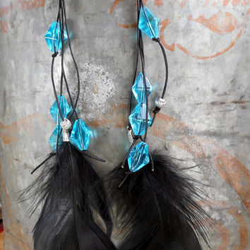 Boho black leather and turquoise glass bead long feather earrings. Tribal, Funky, one of a kind, upcycled beads, leather cording, hippie